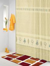 Koupelnové závěsy - béžovotyrkysové lístky - 180x200 cm