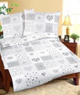 Povlečení bavlněné - šedé srdce patchwork - 140x200, 70x90