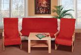 Souprava Korall micro 3+1+1 - červená - 1x150x200+2x65x150 cm
