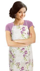 Kuchyňská zástěra EMA - fialové květy - zástěra 67x84 cm