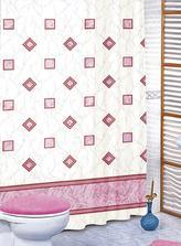 Koupelnové závěsy - růžové čtverce - 180x200 cm