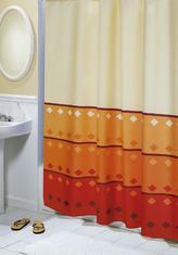 Koupelnové závěsy - oranžová geometrie - 180x200 cm