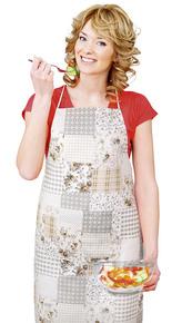 Kuchyňská zástěra EMA - béžovošedý patchwork - zástěra 67x84 cm