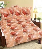 Povlečení MIKROFLANEL - oranžový květ - 140x200,70x90 cm