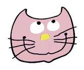 Kuchyňská podložka - kočička růžová - 10x10 cm