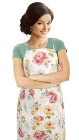 Kuchyňská zástěra EMA - růže na dřevě - zástěra 67x84 cm
