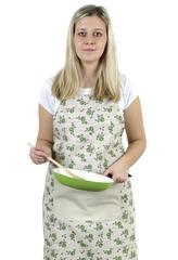 Kuchyňská zástěra IVO - zelená růžička s razítkem - zástěra 67x84 cm