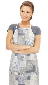 Kuchyňská zástěra EMA - patchwork šedomodrý - zástěra 67x84 cm