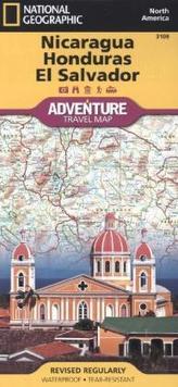 National Geographic Adventure Travel Map Nicaragua, Honduras, El Salvador