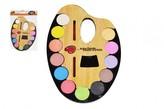 Vodové barvy 12ks + štětec na paletě 19x28cm plast v sáčku