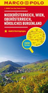 MARCO POLO Karte Niederösterreich, Wien, Oberösterreich, Nördliches Burgenland. Lower Austria, Vienna, Upper Austria, Northern B