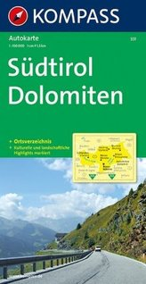 Kompass Karte Südtirol, Dolomiten. Alto Adige, Dolomiti