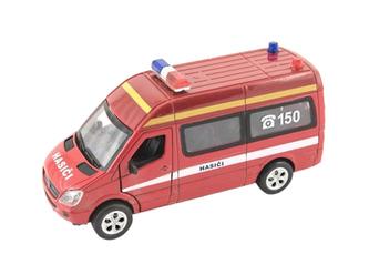 Auto hasiči kov/plast 15cm na baterie se světlem se zvukem na zpětné natažení