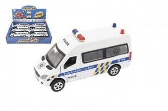 Auto policie kov/plast 15cm na baterie se světlem se zvukem na zpětné natažení
