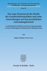 Der neue Normzweck des Rechts der Gesellschafterdarlehen und seine Auswirkungen auf den persönlichen Anwendungsbereich