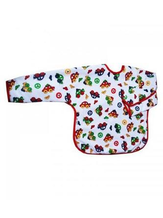Dětský bryndák s rukávky Akuku bílý s autíčky