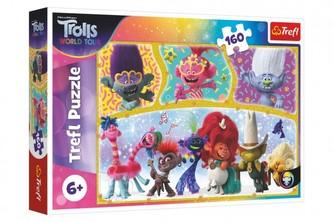 Puzzle Trolls world tour Šťastný svět Trollů 41x27,5cm 160 dílků v krabici 29x19x4cm