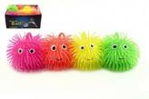Míček mačkací chlupatý antistresový svítící silikon 10cm 4 barvy 24 v boxu