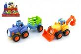 Traktor/Buldozer plast 15cm pro nejmenší 2 druhy na setrvačník 6ks v boxu
