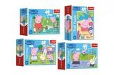 Minipuzzle 54 dílků Šťastný den Prasátka Peppy/Peppa Pig 4 druhy v krabičce 9x6.5x3,5cm