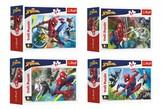 Minipuzzle 54 dílků Spidermanův čas 4 druhy v krabičce 9x6.5x4cm