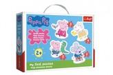 Puzzle pro nejmenší Prasátko Peppa/Peppa Pig 18 dílků v krabici 27x19x6cm 2+