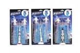 Raketoplán/raketa 12cm plast s kosmonauty 2ks se startovacím dokem 3 druhy na kartě