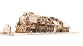 Ugears 3D dřevěné mechanické puzzle V-Express parní lokomotiva