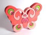 Fauna Dřevěné vkládací puzzle z masivu motýl růžový
