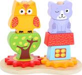 Small Foot Dřevěné kostky sova a kočka