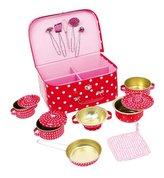 Small Foot Dětský růžový piknikový kufr s puntíky