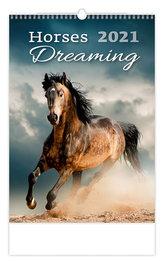 Kalendář 2021 nástěnný: Horses Dreaming, 315x450