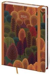 Diář 2021: Vario Trees, A5 denní, 145x205, s gumičkou