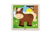 Dřevěné puzzle 9 dílků - kůň