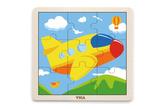 Dřevěné puzzle 9 dílků - letadlo