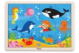 Dřevěné puzzle 16 dílků - oceán