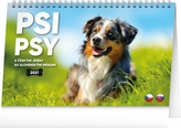 Kalendář 2021 stolní: Psi – Psy CZ/SK, 23,1 × 14,5 cm