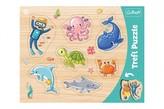 Vkládačka/Puzzle obrysové zvířátka mořský svět 37x29 ve fólii