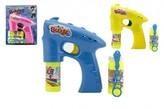 Bublifuk pistole plast 13cm + 1 náplň na baterie 3 barvy na kartě