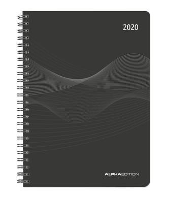 Wochenplaner PP-Einband schwarz 2020 - Kalender-Ringbuch A5