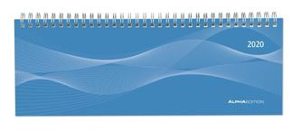 Tisch-Querkalender 1 Woche auf 2 Seiten Profi blau 2020
