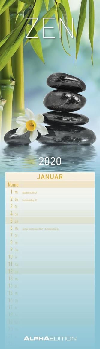 Streifenplaner mini Zen 2020 - Streifenkalender (9,5 x 33)