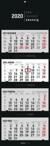 4-Monatskalender 2020 faltbar, Black