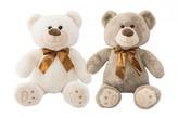 Medvěd sedící s mašlí plyš 36cm 2 barvy v sáčku 0+
