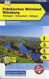 KuF Deutschland Outdoorkarte 56 Fränkisches Weinland, Würzburg, Kitzingen, Ochsenfurt, Volkach 1 : 50 000