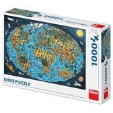 Puzzle 1000 XL Kreslená mapa světa