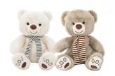 Medvěd sedící se šálou plyš 29cm 1 ks, 3 2 druhy