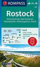KOMPASS Wanderkarte Rostock, Warnemünde, Bad Doberan, Ostseebäder Kühlungsborn, Rerik 1:50 000