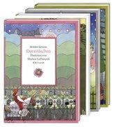 Vier illustrierte Märchenklassiker: Aschenputtel, Dornröschen, Hänsel und Gretel, Schneewittchen