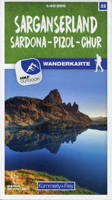 Sarganserland Sardona - Pizol - Chur 22 Wanderkarte 1:40 000 matt laminiert